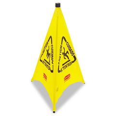 Three-Sided Caution, Wet Floor Safety Cone, 21w x 21d x 30h, Yellow