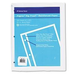 National Rip Proof 20-lb, Reinforced Filler Paper, Unruled, 11 x 8-1/2, WE, 100 Sheets/Pk
