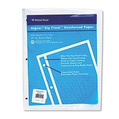 National Rip Proof Reinforced Filler Paper, Ruled, 20 lb, Letter, White, 100 Sheets/PK
