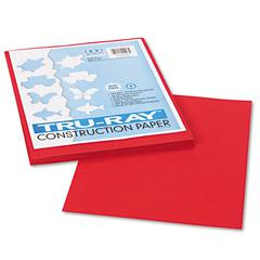 Pacon Tru-Ray Construction Paper, 76 lbs., 9 x 12, Holiday Red, 50 Sheets/Pack
