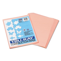 Tru-Ray Construction Paper, 76 lbs., 9 x 12, Salmon, 50 Sheets/Pack