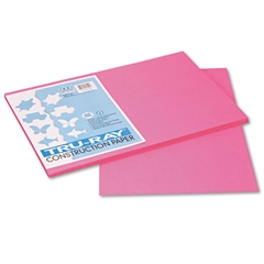 Pacon Tru-Ray Construction Paper, 76 lbs., 12 x 18, Shocking Pink, 50 Sheets/Pack