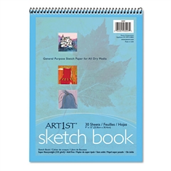 Pacon Artist's Sketch Book, Unruled, 80lb, 9 x 12, White, 30 Sheets