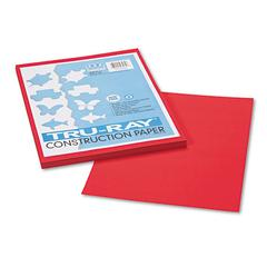 Pacon Tru-Ray Construction Paper, 76 lbs., 9 x 12, Festive Red, 50 Sheets/Pack
