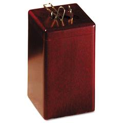Rolodex Wood Tones Paper Clip Holder, Wood, 2 1/8 x 2 1/8 x 3 1/2, Mahogany