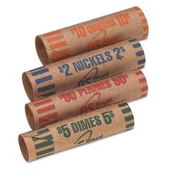 Royal Sovereign Preformed Tubular Coin Wrappers, 54 Each Pennies/Nickels/Dimes/Quarters, 216/Box