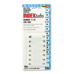 Redi-Tag Side-Mount Self-Stick Plastic Index Tabs Nos 11-20, 1 inch, White, 104/Pack