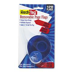 "Redi-Tag Arrow Message Page Flags in Dispenser, ""Sign Here"", Red, 120 Flags/ Dispenser"