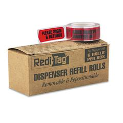 """Redi-Tag Arrow Message Page Flag Refills, """"Please Sign & Return"""", Red, 120/Roll, 6 Rolls"""