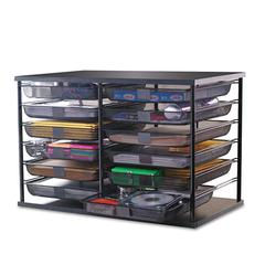 "Rubbermaid 12-Compartment Organizer with Mesh Drawers, 23 4/5"" x 15 9/10"" x 15 2/5"", Black"