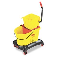 Rubbermaid Commercial Wavebrake 35 Qt Dual Water Side Press Mop Bucket & Wringer, Yellow