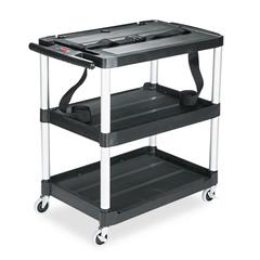 Rubbermaid Commercial MediaMaster Three-Shelf AV Cart, 18-5/8w x 32-1/2d x 32-1/8h, Black