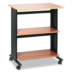 Muv Mobile Machine Cart, Three-Shelf, 29-1/2w x 20d x 35h, Oak/Black
