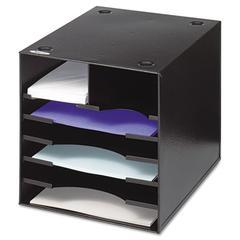 Safco Steel Desktop Sorter, Seven Compartments, Steel, 12 x 12 x 11, Black