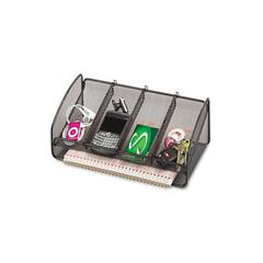 Metal Mesh Desk Organizer, Black, Five Sections, 12 1/4 x 6 1/4 x 4 1/2