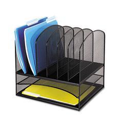 Safco Mesh Desk Organizer, Eight Sections, Steel, 13 1/2 x 11 3/8 x 13, Black