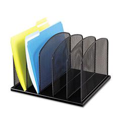 Safco Mesh Desk Organizer, Five Sections, Steel, 12 1/2 x 11 1/4 x 8 1/4, Black