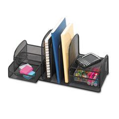 Onyx Mesh Desk Organizer, Three Sections/Two Baskets, 17 x 6 3/4 x 7 3/4, Black