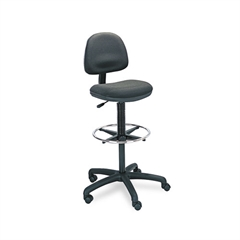 Safco Precision Extended Height Swivel Stool w/Adjustable Footring, Black Fabric