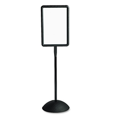 Safco Double Sided Sign, Magnetic/Dry Erase Steel, 18 x 18, White, Black Frame