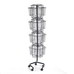 Safco Wire Rotary Display Racks, 32 Compartments, 15w x 15d x 60h, Charcoal