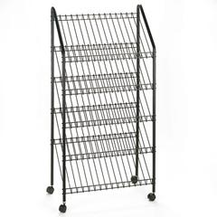 Mobile Literature Rack, 32-1/2w x 15-1/4d x 63-1/2, Charcoal