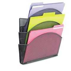 Safco Onyx Magnetic Mesh Panel Accessories, 3 File Pocket, 13 x 4 1/3 x 13 1/2. Black
