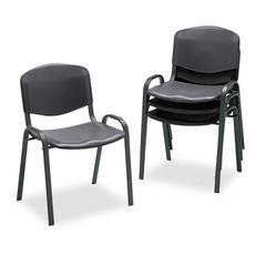 Safco Stacking Chairs, Black w/Black Frame, 4/Carton