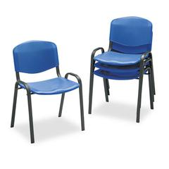 Safco Contour Stacking Chairs, Blue w/Black Frame, 4/Carton