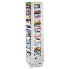 Safco Steel Rotary Magazine Rack, 92 Compartments, 14w x 14d x 68h, Gray