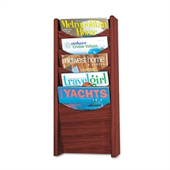Safco Solid Wood Wall-Mount Literature Display Rack, 11 1/4 x 3 3/4 x 23 3/4, Mahogany