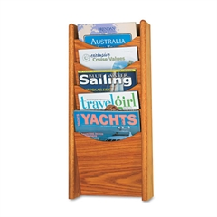 Solid Wood Wall-Mount Literature Display Rack, 11 1/4 x 3 3/4 x 23 3/4, Med. Oak
