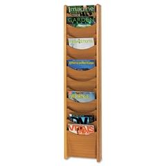 Safco Solid Wood Wall-Mount Literature Display Rack, 11-1/4 x 3-3/4 x 48, Medium Oak