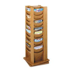 Safco Rotary Display, 48 Compartments, 17-3/4w x 17-3/4d x 49-1/2h, Medium Oak