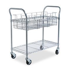 Safco Wire Mail Cart, 600-lb Cap, 18-3/4w x 39d x 38-1/2h, Metallic Gray