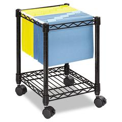 Safco Compact Mobile Wire File Cart, One-Shelf, 15-1/2w x 14d x 19-3/4h, Black