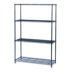 Safco Industrial Wire Shelving Starter Kit, Four-Shelf, 48w x 18d x 72h, Black