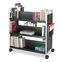 Safco Scoot Book Cart, Six-Shelf, 41-1/4w x 17-3/4d x 41-1/4h, Black