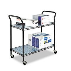 Safco Wire Utility Cart, Two-Shelf, 43-3/4w x 19-1/4d x 40-1/2h, Black
