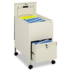 Safco Locking Mobile Tub File With Drawer, Letter Size, 17w x 26d x 28h, Putty