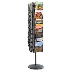 Safco Onyx Mesh Rotating Magazine Display, 30 Compartments, 16-1/2w x 66h, Black