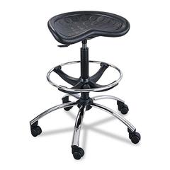 "Sit-Star Stool With Footring and Casters, 27"" to 36""h Seat, Black/Chrome"