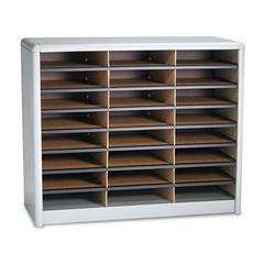 Safco Steel/Fiberboard Literature Sorter, 24 Sections, 32 1/4 x 13 1/2 x 25 3/4, Gray