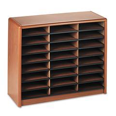 Safco Steel/Fiberboard Literature Sorter, 24 Sections, 32 1/4 x 13 1/2 x 25 3/4, Oak