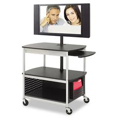 Safco Scoot Flat Panel Multimedia Cart, Three-Shelf, 39-1/2w x 27d x 68h, Black