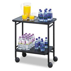 Safco Folding Office/Beverage Cart, Two-Shelf, 25w x 15d x 30h, Black