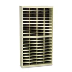 Safco Steel/Fiberboard E-Z Stor Sorter, 72 Sections, 37 1/2 x 12 3/4 x 71, Sand