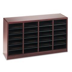 Safco Wood/Fiberboard E-Z Stor Sorter, 24 Sections, 40 x 11 3/4 x 23, Mahogany