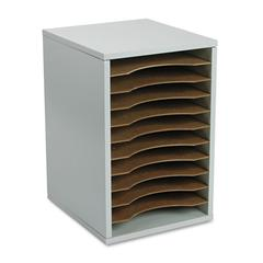 Safco Wood Vertical Desktop Literature Sorter, 11 Sections 10 5/8 x 11 7/8 x 16, Gray