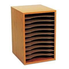 Safco Wood Vertical Desktop Sorter, 11 Sections 10 5/8 x 11 7/8 x 16, Medium Oak